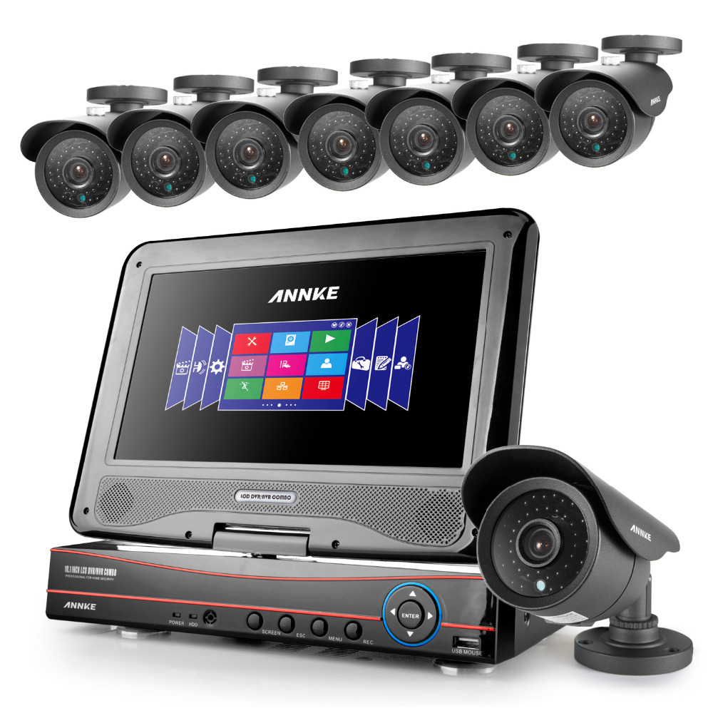 Annke 10.1 LCD 4CH 720P 960H DVR NVR HVR in 1 Network CCTV Video Record With 8*800 TVL  Cameras System<br><br>Aliexpress