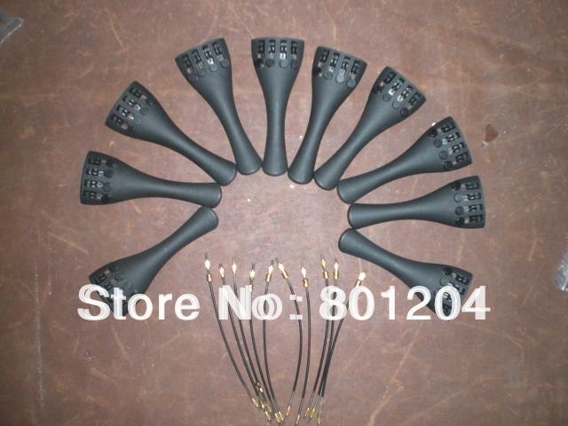 10 PCs Carbon Fiber Violin Tailpiece with 10 PCs Tail guts All 4/4(China (Mainland))