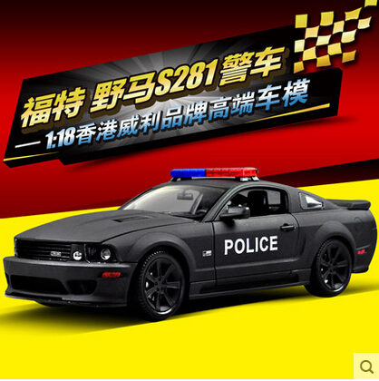 HOT SALE Ford Mustang police 1:18 welly S281 Original alloy car model Toy Matte Black Fast & Furious FBI(China (Mainland))