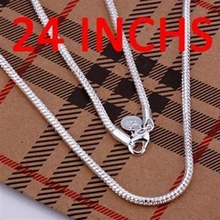 Buy silver plated fashion jewelry Necklace pendants Chains, 925 jewelry silver plated necklace 3mm Snake Bone Necklace-24 wftt vyai for $1.32 in AliExpress store