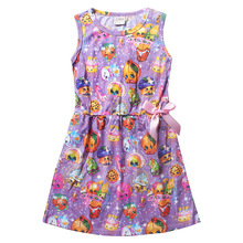 Cleanstock Promotions!! 2016  Casual Style Girl Dress Purple Fashion With Pink Bow A-Line Dress For 6-12 Years Girl Chothing