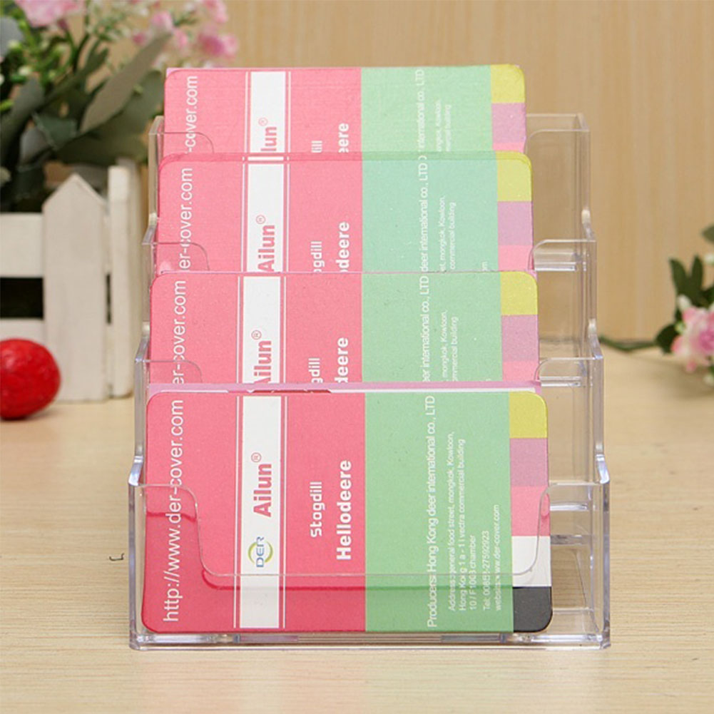 4 Layers Pocket Display Stand Acrylic Plastic New Clear Desktop Business Card Holder Desk Shelf Box Storage Drop Shipping(China (Mainland))