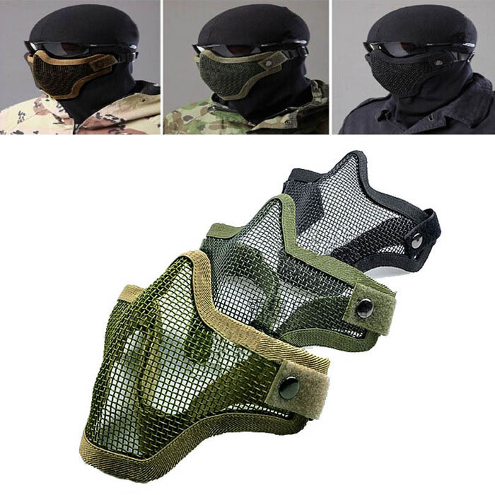 hillsionly 2015 Half Lower Face Metal Steel Net Mesh Hunting Tactical Protective Airsoft Mask shopping(China (Mainland))
