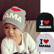 2015 New Spring Autumn Baby Knitted Warm Cotton Beanie Hat For Toddler Baby Kids Girl Boy I LOVE PAPA MAMA Print Baby Hats(China (Mainland))