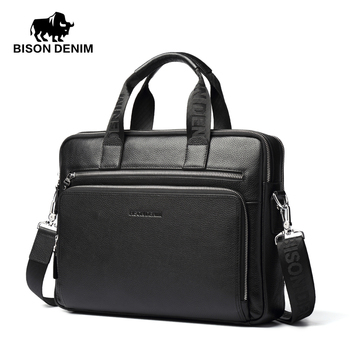 BISON DENIM Genuine leather briefcases 14''Laptop bags men's Briefcase Business Handbag Soft Cowhide bag men for gift