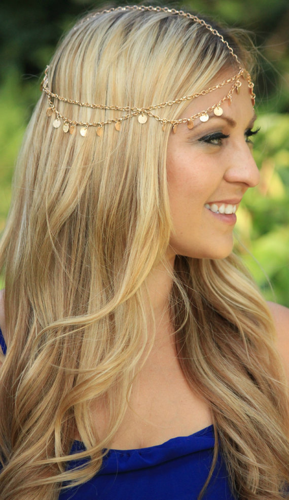 Party Wedding Jewelry Hot New Tiara Circle Roll Drop Head Chain Forehead Dance Headpiece Bohemian Hair
