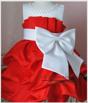 New Fashion Kids Girl Dress Pink and Red Children Party Dresses With Big Bow  Infant Garmemt 4pcs/LOT Wholesale  GD21224-01R^^EI