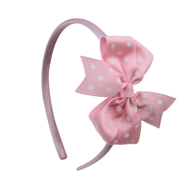 Baby Girl Lovely Dot Pin Wheel Polka Dots Ribbon Hair Bow Hairband For Children Boutique Kids Hairband With Bow