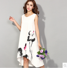 Summer dress 2016 New Fashion sleeveless white dress casual cotton Linen dress lotus Printing o-neck vestidos de festa