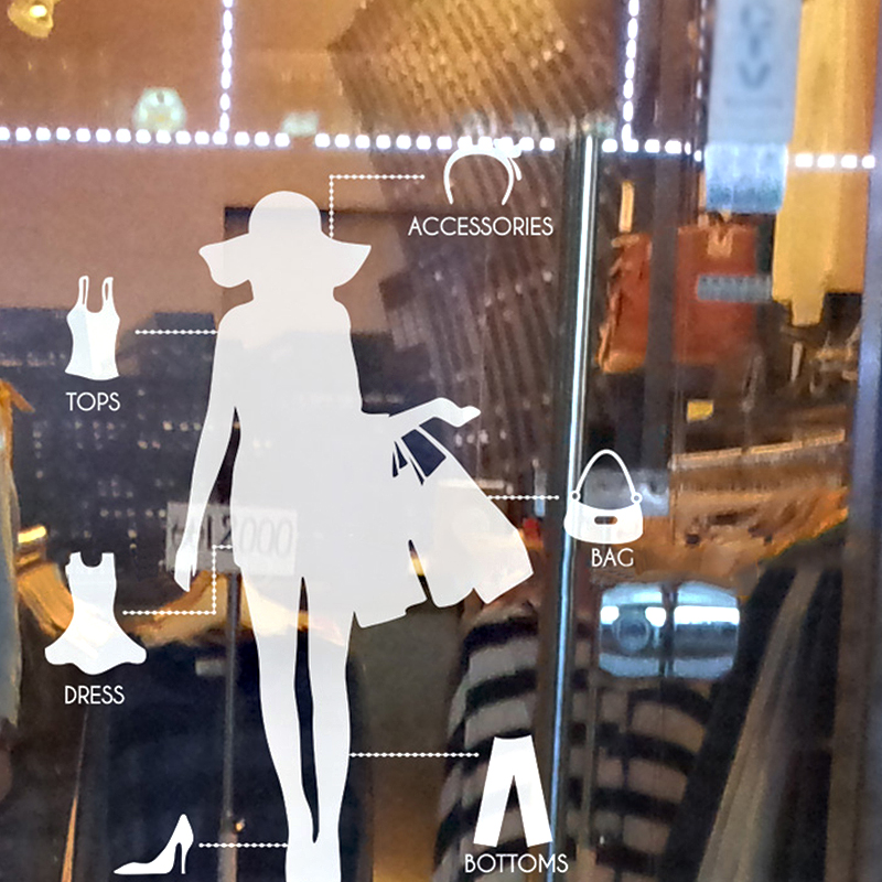 Shoes Clothing Store Shop Bussiness Hours Decal Sexy Lady Girls Glass Wall Sticker Decoration Shoes Clothing Store Car Decal(China (Mainland))