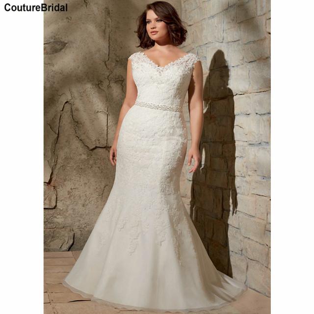 Dentelle sirène taille des robes de mariage élégant grande taille ...