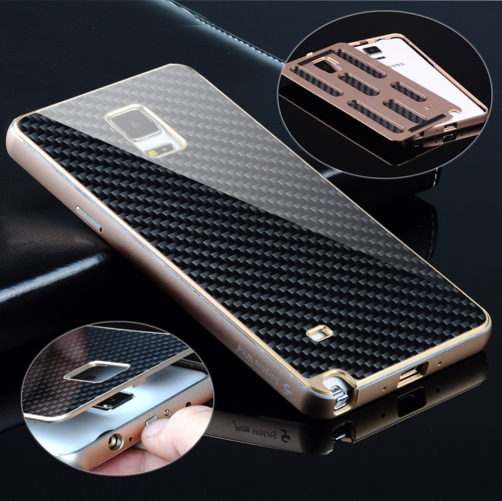 Note 4 Deluxe Metal Aluminum Frame Carbon Fiber Back Case Cover Samsung Galaxy Note4 N9100 - Black Penguin store