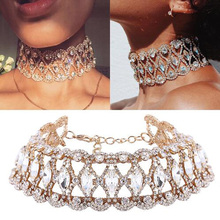 Buy Luxury Hollow Flower Crystal Rhinestone Choker Collar Necklaces Women Gold Silver Chain Necklace Wedding Jewelry Party Gift for $5.99 in AliExpress store