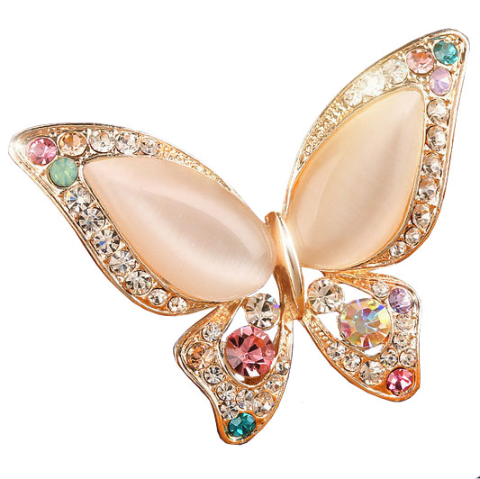 Opal Butterfly Brooch for Women Rhinestone Broche Fashion Bijouterie Wedding Jewelry 3 Colors Available Gold Plated Lead Free(China (Mainland))