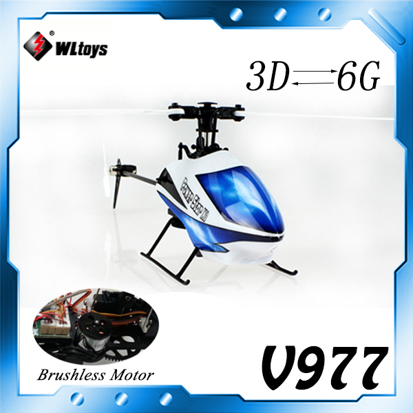In Stock Free Shipping WL V977 6CH 2.4G RC Helicopter Power Star X1 Brushless Flybarless RC Helicopter have 3D 6G Mode(China (Mainland))