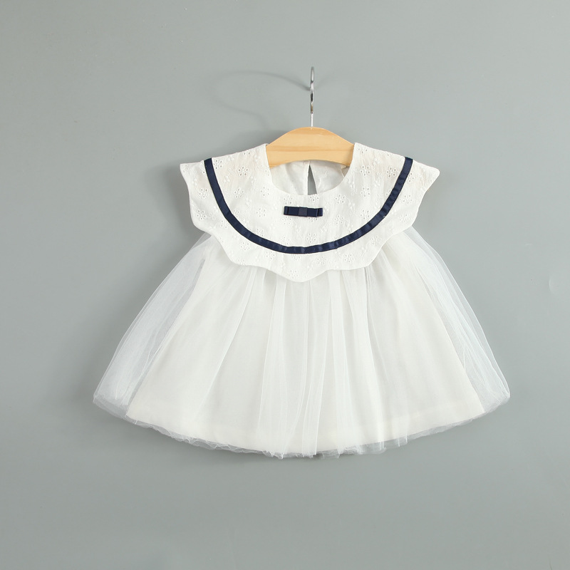new2016 summer Cotton Baby girls clothing dress flounced collar girl Dress infant Princess dresses Newborn lace Baby Dress kids(China (Mainland))