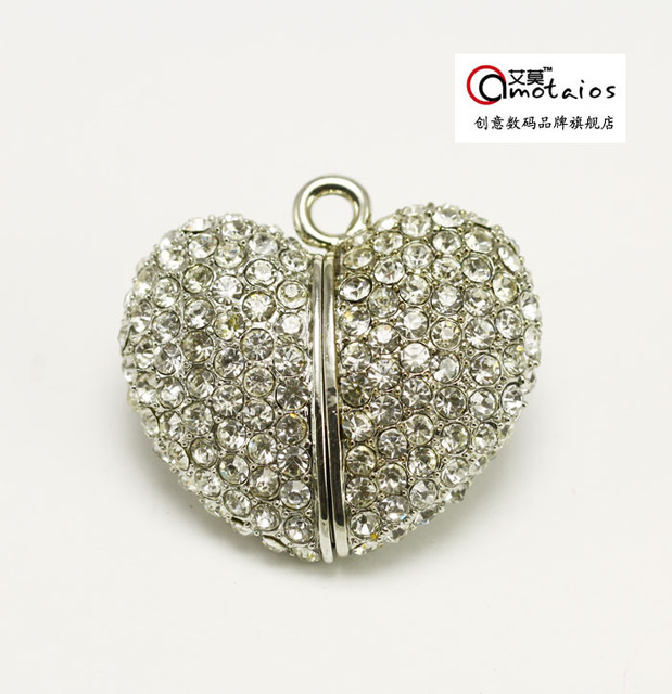 4gb full diamond pieces heart crystal necklace usb flash drive personalized necklace waterproof usb flash drive