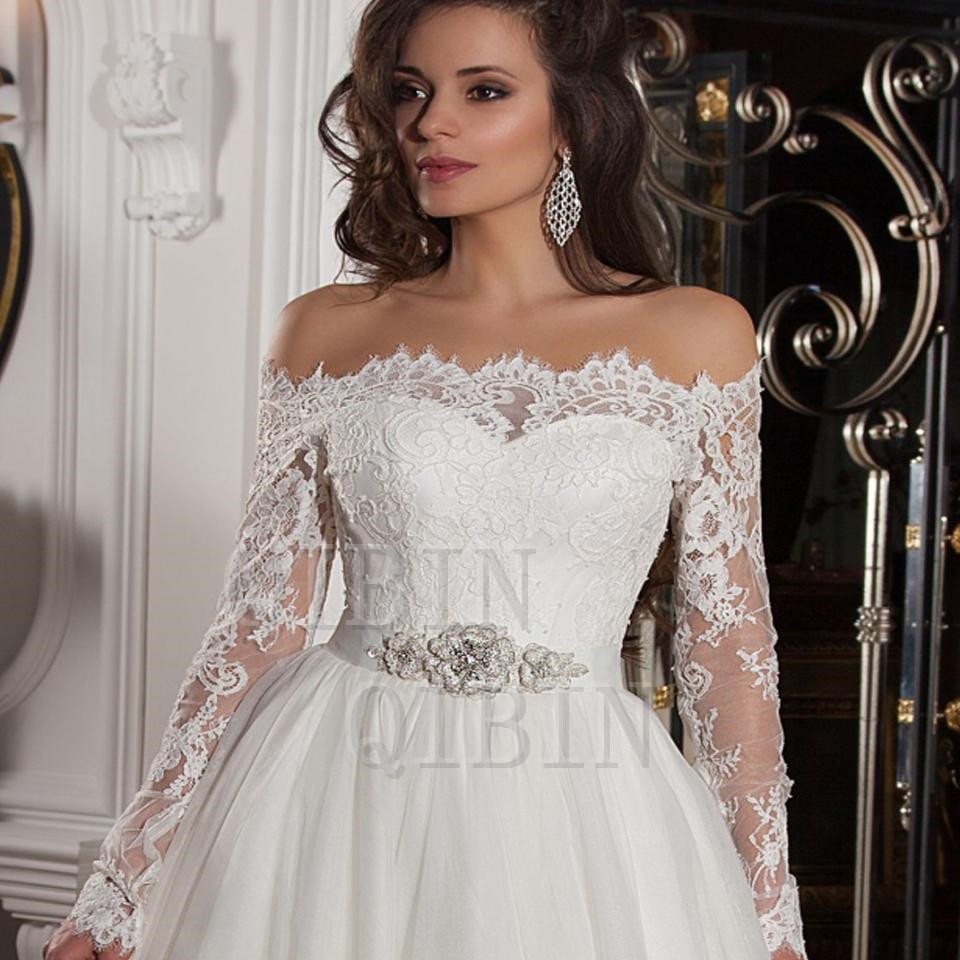 2016 real sleeve lace wedding dresses tulle vintage dress for Fully beaded wedding dresses