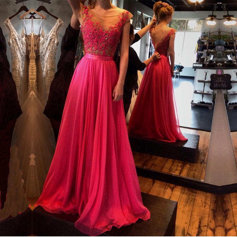 Aliexpress.com Comprar Vestidos de fiesta 2016 de noche elegante vestido de fiesta sin espalda Sexy fucsia del Applique del cordón una línea baile Vestidos