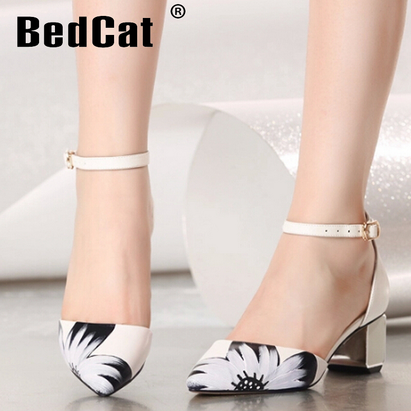 women real genuine leather pointed toe party flower high heel sandals brand sexy fashion ladies heeled shoes size 34-39 R6889<br><br>Aliexpress