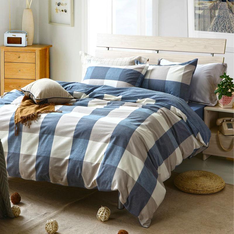 Fashion Plaid Washed Cotton Grey White Blue Bedding Set