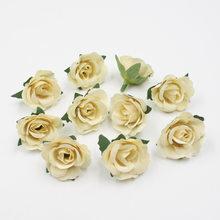 20 шт./лот Искусственные цветы 3,5 см, мини шелковые розы на День святого Валентина, свадебное украшение, DIY, цветы, настенная Подарочная коробк...(Китай)