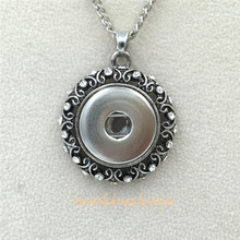 3pcs/lot) Vintage Silver rhinestone Jewelry Snap Pendant Necklace Snap Button Charms Vocheng Jewelry Free Shipping