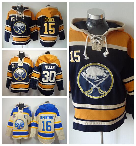 Buffalo Sabres Hooded Ice Hockey 15 Jack Eichel Hoody 30 Ryan Miller 16 Pat Lafontaine Pullover Sweatshirt Hoodies Blue Beige(China (Mainland))