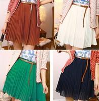 2015 New Vintage Pleated Skirts For Women/Mini Chiffon A-line Women Skirts/Brand Summer Skirts Women Clothing+Belt