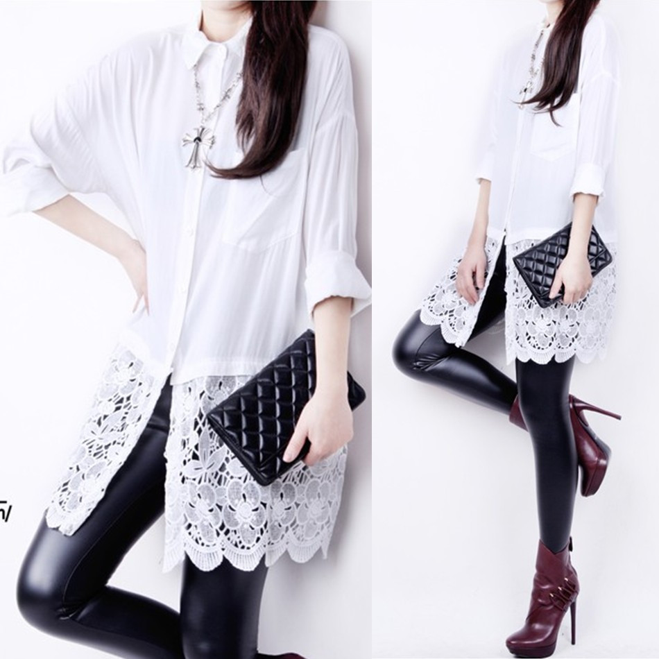 Summer fashion medium-long white lace patchwork 100% basic shirt cotton female long-sleeve loose - jim yue's store