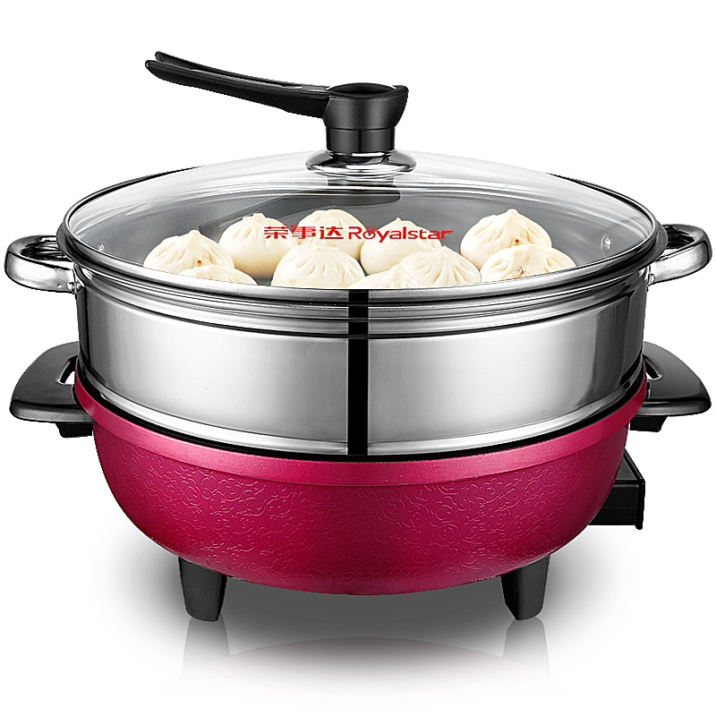 Free shipping Hot pot 5L large capacity boiling non stick frying pan with steamer Multi Cookers(China (Mainland))