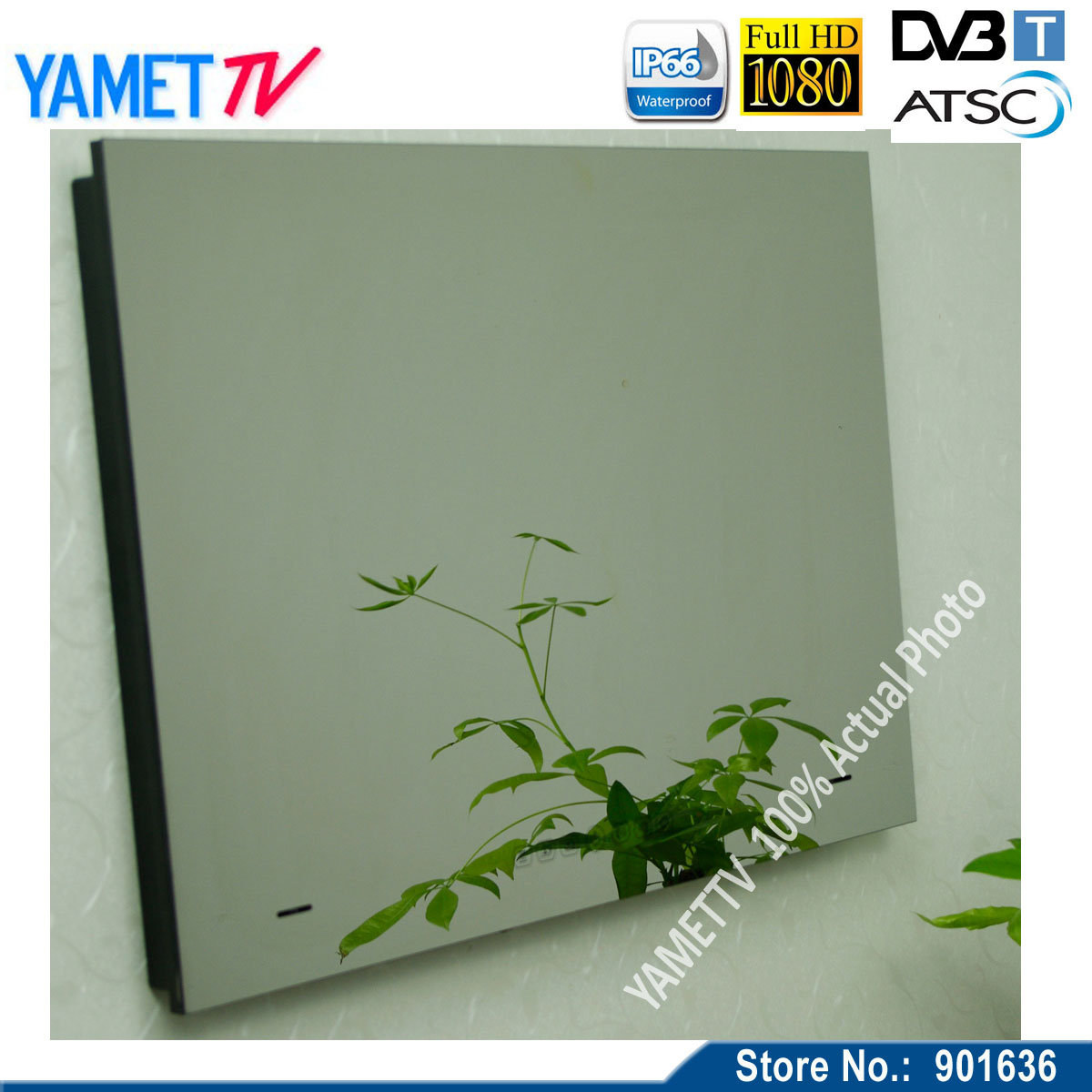 """Free shipping IP66 HD 15.6"""" Glass Mirror TV/ TV in Mirror / Television in Mirror(China (Mainland))"""