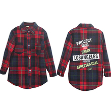 Girls Blouse Kids Shirts 2-14Y Fashion Long Plaid Letter Print Blouse Kids Baby Tops Girls Clothes Kids Children Clothing SC024