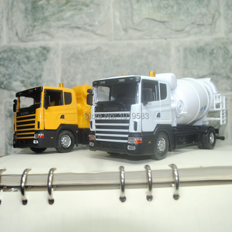 (5pcs/pack) Free Shipping Wholesale Brand New 1/43 Scale Swden Scania Cement Mixer Truck Diecast Metal Car Model Toy(China (Mainland))