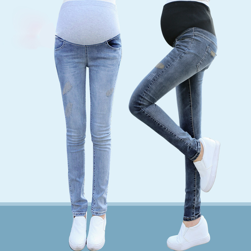 Elastic Waist Maternity Jeans Pants For Pregnancy Clothes For Pregnant Women Legging Autumn / Winter Maternity Plus Size