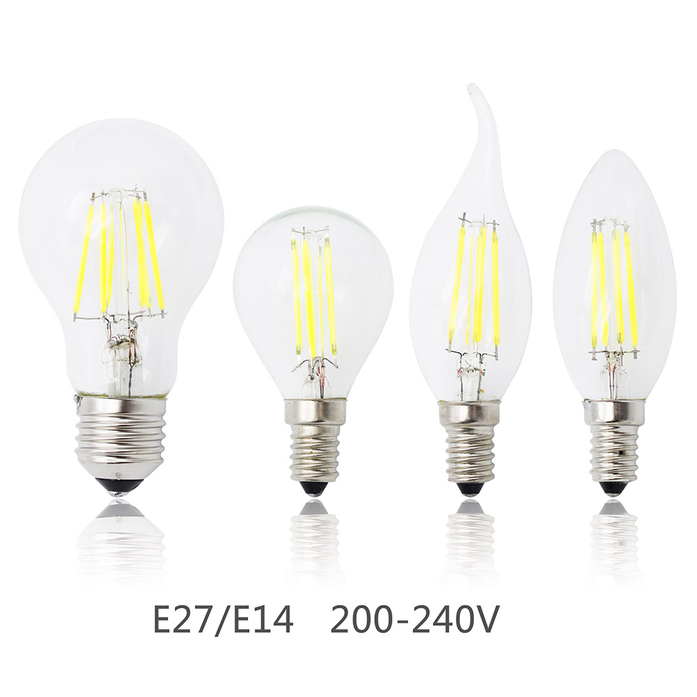 New E27 Lamp E14 LED Filament 4W 8W 12W 16W Dimmable Glass Edison 220V Bulb Replace Halogen Light Chandeliers Energy Saving(China (Mainland))