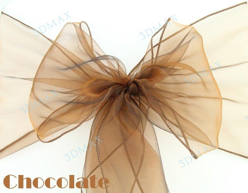 Free Shipping 90 pcs/lot Wedding Organza Chair Cover Sashes Sash Party Banquet Decor Bow chocolate Colours(China (Mainland))