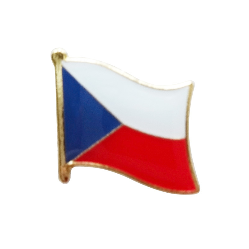 custom unique metal czech republic flag lapel pins badges iron plated brass paints epoxy