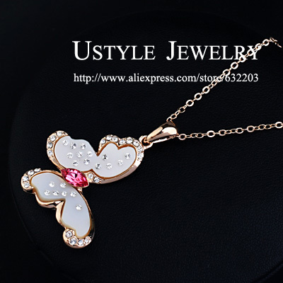 Cute Girl! 18K Rose Gold Plated Rhinestones and Butterfly Crystal Jewelry Necklace(China (Mainland))