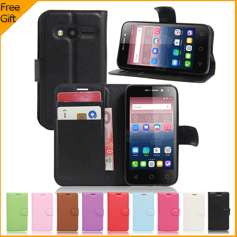 """Luxury PU Leather Back Cover Case For Alcatel One Touch Pixi 4 4.0 4034D Case 4.0"""" Flip Protective Phone Bag With Card Holder(China (Mainland))"""