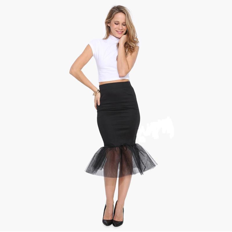new 2016 summer empire sheer midi skirt mesh