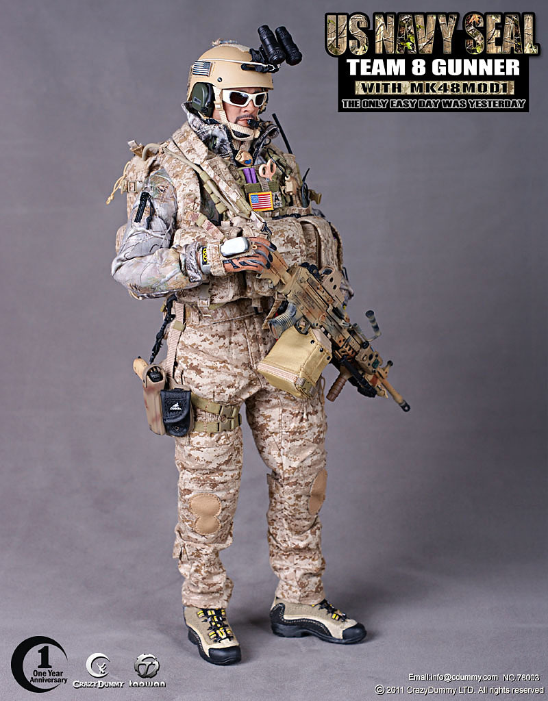1/6 figures USA The commander of The seal 6 team (Killing of osama bin laden),and team 8 gunner with MK48MOD1