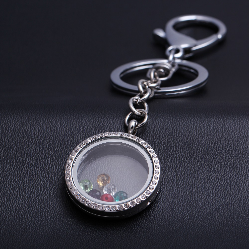 New fashion Rhinestone Alloy Key Chain contains a glass ball flat car key chain key ring Bag Pendant car key chain  portachiavi<br><br>Aliexpress
