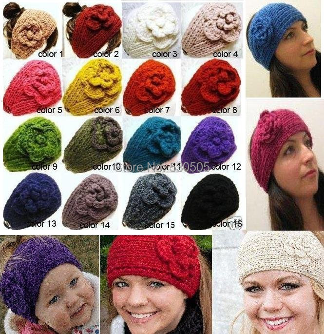 Handmade knitted women or kids head bands/crochet flower hairwear mixed color 10pcs/lot free shipping(China (Mainland))
