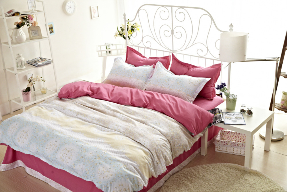 4pcs full twin size shabby chic bedding floral bedding