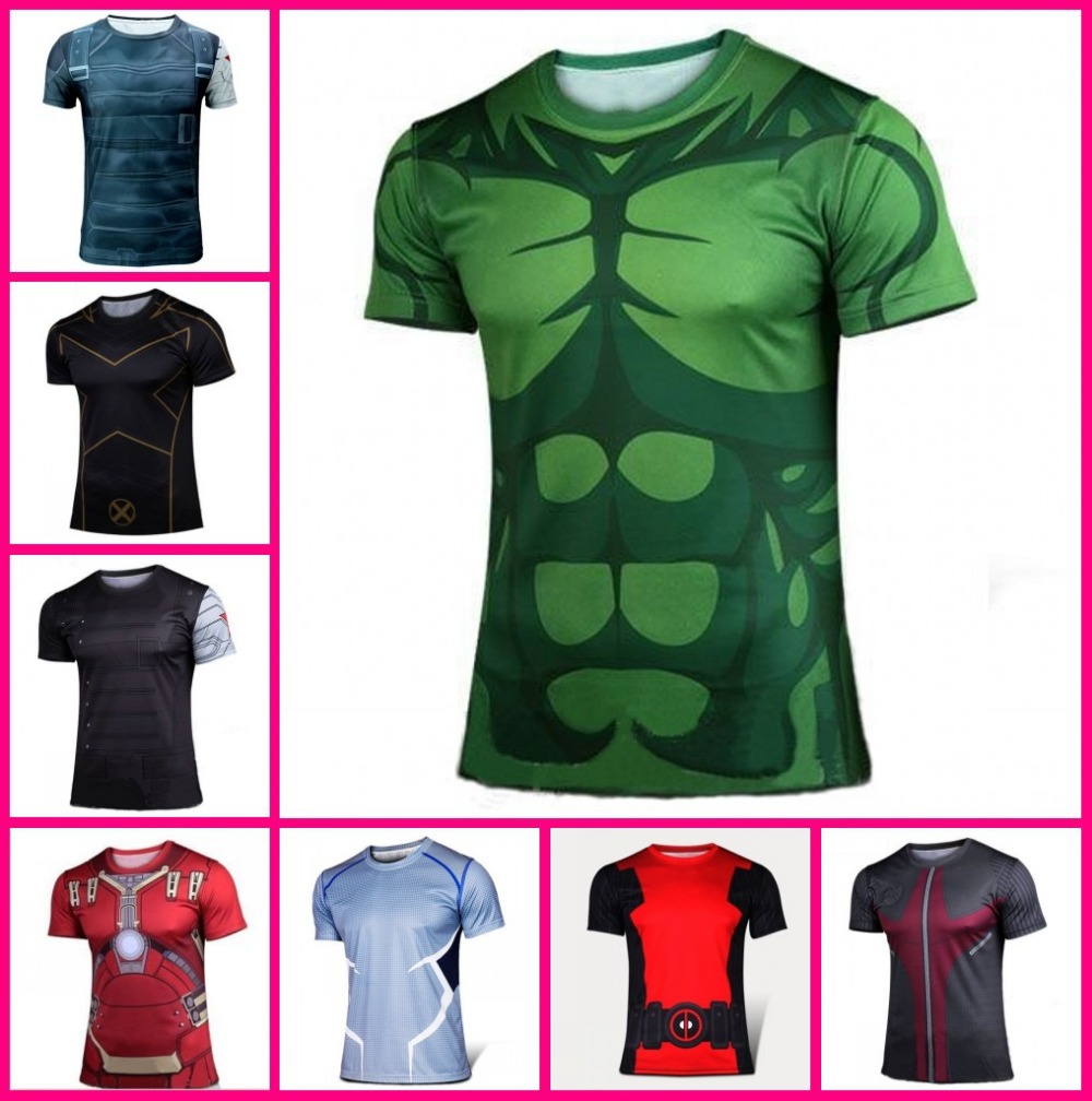 Marvel avengers T Shirt Quick dry 2015 iron man captain america hulk cool t-shirt man top tee casual man short sleeve plus size(China (Mainland))