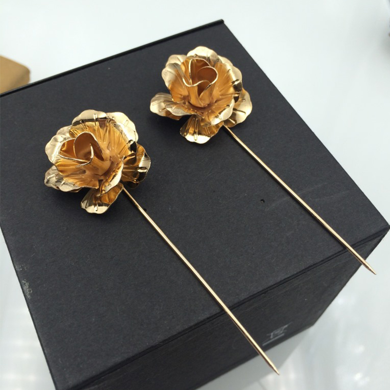New Brass Men's Brooches Corsage For Wedding Plated Flower Shape Brooch Lapel Pins Fashion Men's Insert Long Pins Brooches(China (Mainland))