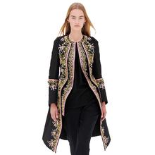 Coat 2015 Autumn Spring Winter Coat Fashion Runway XXL European Elegant Women Long Sleeve Retro Embroidery Long Trench Coat