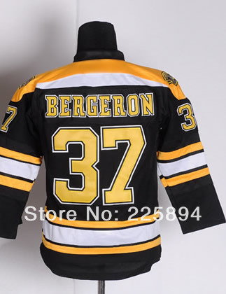 High Quality Youth Ice Hockey #37 Patrice Bergeron Kids Youth Premier Home Black Hockey Jersey Embroidery name and logos(China (Mainland))