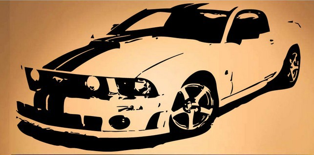 Popular Race car Wall Sticker Mustang Race Car Fast Ford Mural Art Vinyl Wall Decal Bedroom Boy's Room Home Decoration(China (Mainland))